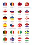 Symbolknappar av deltagandeländerna till den sista fotbollturneringen av euroet 2016 i Frankrike Royaltyfri Foto