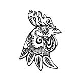 Symboll year black and white ornamental rooster. Vector illustration of black and white ornamental rooster symbol year 2017 Royalty Free Stock Images