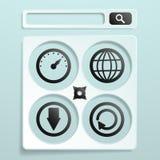 Symbolleistensuche im Weiß mit zusätzlichen Ikonen Stockbild