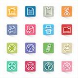 Symbolleistenwebsiteikonen und weißer Hintergrund Lizenzfreie Stockbilder