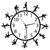 Symbolleute lassen ein Rennen um die Zeitborduhr laufen Lizenzfreies Stockfoto