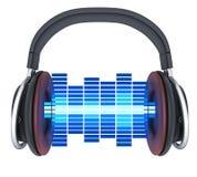 Symbolmusik och headphone Royaltyfri Bild