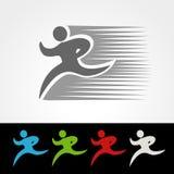 Symbolrate des Lieferungspakets oder Geschwindigkeitsikone des Downloads und Antriebskraft, Schattenbild des laufenden Mannes, Lä Stockbilder
