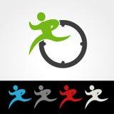 Symbolrate des Lieferungspakets oder Geschwindigkeitsikone, Schattenbild des laufenden Mannes, Läufer mit Uhr Stockfotografie