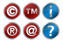 Symbols. Copyright, registered ,trademark, information and question symbols royalty free illustration