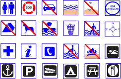 Symbols. A lots of summer beach symbols Royalty Free Stock Photography