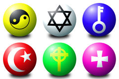 Symbols. 3D spheres showing various symbols Stock Photography