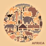 Symbols of Africa in the form of a circle Royalty Free Stock Image