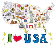 Free Symbols And Icons Located On US Map, Royalty Free Stock Photography - 98737977