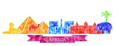 The symbols of architecture and nature of Africa in the polygonal style Stock Photos