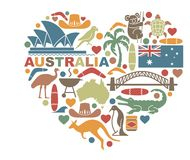Symbols Of Australia in the shape of a heart. Traditional symbols of nature and culture of Australia in the shape of a heart Royalty Free Stock Photo