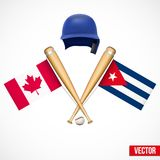 Symbols of Baseball team Canada and Cuba. Royalty Free Stock Images