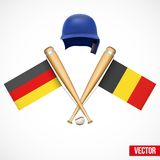 Symbols of Baseball team Germany and Belgium. Royalty Free Stock Photography