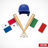 Symbols of Baseball team Panama and Mexico. Royalty Free Stock Photography