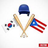 Symbols of Baseball team South Korea and Puerto Royalty Free Stock Images