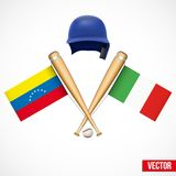 Symbols of Baseball team Venezuela and Italy. Royalty Free Stock Photos