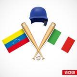 Symbols of Baseball team Venezuela and Italy. Royalty Free Stock Photos