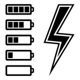 Symbols of battery level. Vector illustration Stock Photos