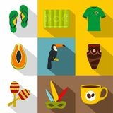 Symbols of Brasil icon set, flat style. Symbols of Brasil icon set. Flat style set of 9 symbols of Brasil vector icons for web design royalty free illustration