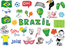Symbols of Brazil. Summer in Brazil doodles collection for banners, backgrounds, presentations royalty free illustration