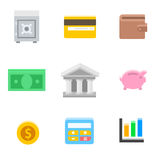 Symbols of Business and Finance. Money, safe, case, card, purse, piggy bank, coin. Vector flat illustration Stock Image