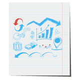 The symbols on the business theme hand-drawn Stock Image