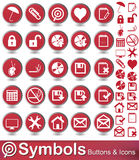 Symbols buttons and icons. Set of symbols  on white background Royalty Free Stock Photography