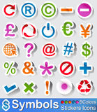 Symbols buttons and icons. Vector - illustration :  Symbols buttons in five colurs Stock Photo