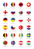 Symbols Buttons of the participating countries to the final soccer tournament of Euro 2016 in france. Round symbols of participating countries to the soccer Royalty Free Stock Photo