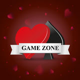 Symbols card games. Vector 3d symbol card games. game zone for poker. Red background with hearts vector illustration