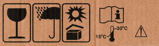 Symbols on cardboard royalty free stock photos