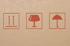 Symbols from cardboard box, information labels Royalty Free Stock Photo