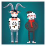 Symbols of Chinese New Year-goat and sheep in Royalty Free Stock Image
