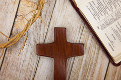 Symbols of Christianity. On a wooden background Royalty Free Stock Images