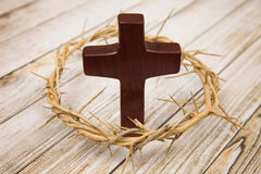 Symbols of Christianity. On a wooden background Stock Photo