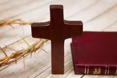 Symbols of Christianity. On a wooden background Stock Photography