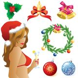 Symbols of Christmas. Christmas symbols, decorations, balls and a girl in a Christmas cap vector illustration