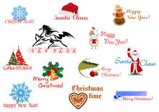 Symbols of Christmas and New Year Stock Image