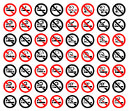 14 symbols of cigarettes, 56 round signs Royalty Free Stock Photography