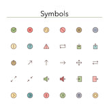Symbols Colored Line Icons. Set. Vector illustration Stock Photo