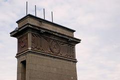 Symbols of communism. On pillars of Aleksoto bridge in Kaunas stock images