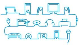 Symbols of computer technics. Simple symbols of computer technics Royalty Free Stock Image