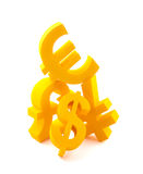 Symbols of currency. With clipping path Stock Photos