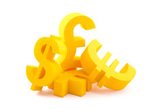 Symbols of currency. With clipping path Royalty Free Stock Images