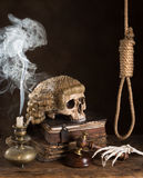Death sentence. Symbols of death sentece with judge's wig and noose royalty free stock photos