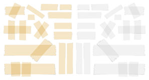 Symbols and different size sticky, adhesive tape pieces on white background.  Royalty Free Stock Photos