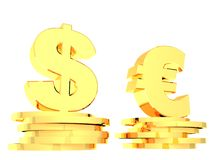 Symbols of dollar and euro. Gold symbols of dollar and euro currency. 3D CG Royalty Free Stock Images