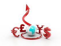 Symbols of Dollar, Euro, Pound, Yen and rupee Stock Image