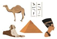 Symbols of Egypt. Illustration with symbols of Egypt isolated on white Royalty Free Stock Image