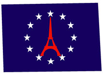 Symbols of EU and Paris Stock Photo